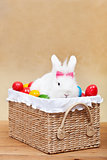 Cute easter bunny with colorful eggs