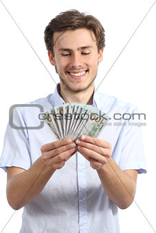 Casual happy man holding money