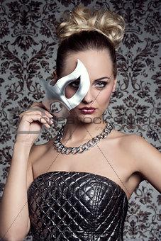 masquerade elegant blonde woman