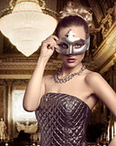 woman with elegant mask