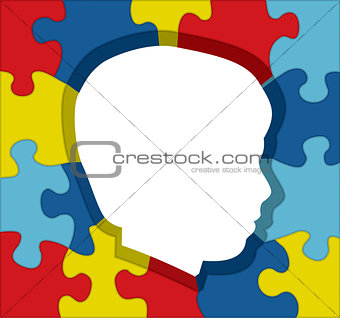 Autism Awareness Puzzle Silhouette Illustration