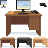 Wood desk with computer telephone and papers set of illustrations