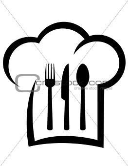 black restaurant icon with chef hat