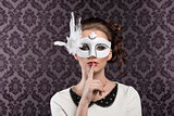vintage carnival mask in white