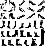 Set of vector Shoes silhouettes