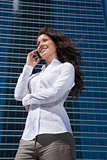 white shirt businesswoman talking mobile