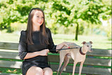 Attractive  girl  with  greyhound in the park