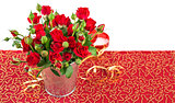 jpg2015020814324338478 Bunch red roses in bucket postcard