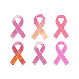 Cancer pink ribbons set
