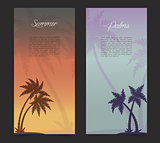 Palms silhouettes card background