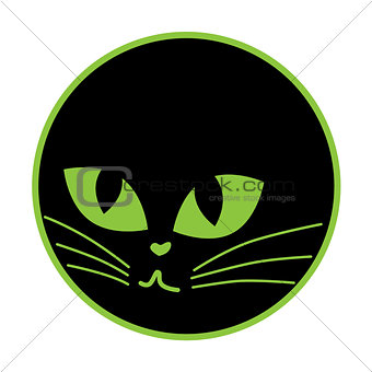 Black cat icon on the plate