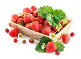 jpg2015020817093639125 Basket fresh strawberry with green leaf and flower