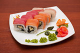 Roll with cream cheese and salmon