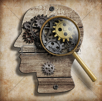 Brain gears and cogs. Mental illness, psychology, invention and idea concept.