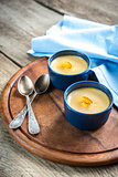Creme caramel in the pots