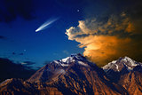 Comet above mountains