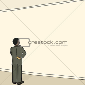 Man in Suit Facing Wall