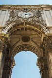 Detail of Rua Augusta Arch, Lisbon, Portugal photographed from low view point