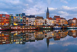Embankment of the river Leie in Ghent town at sunset, Belgium