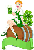 St. Patrick Day girl on the keg