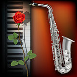 abstract background with rose piano and saxophone