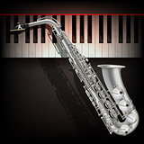 abstract grunge background with saxophone and piano