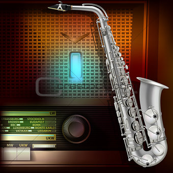 abstract background with saxophone and retro radio