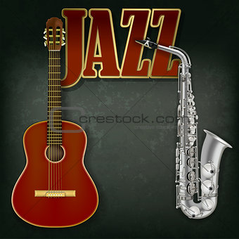 acoustic guitar and saxophone on gray background