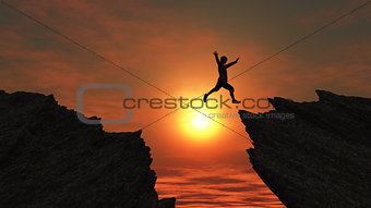 3D male figure jumping on mountains