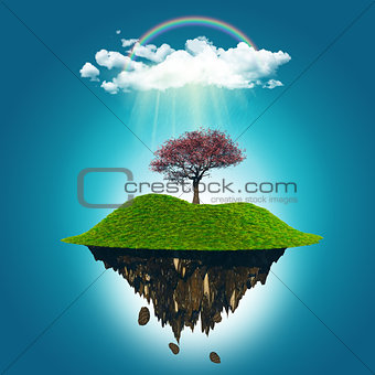 3D render of a floating island with a cherry tree, rainbow and r