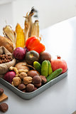 Closeup on fresh vegetables on table