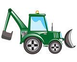 Green tractor excavator