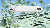 Blank search bar with Go button, money as backdrop