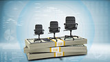 Stack of money with three office chairs on top