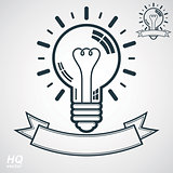 Electricity light bulb symbol, insight emblem. Vector brain storm conceptual icon. Best idea award icon with curvy ribbon. Business idea graphic web design element. EPS8