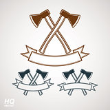 Set of axes crossed vector illustrations, garden tool symbols. Graphic EPS8 instrument icons, two hatchets crossed.