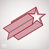 Vector celestial object, pentagonal comet star illustration. Graphical stylized comet tail. Military retro design element. EPS8