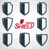 Collection of vector grayscale defense shields, protection design graphic elements. High quality heraldic illustrations on security theme, set of retro coat of arms. EPS8