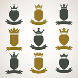 Heraldic royal blazon illustrations set - imperial striped decor
