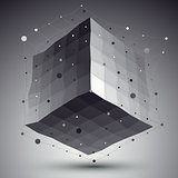 Abstract deformed vector monochrome cube with lines mesh placed