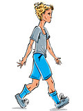 Vector full-length drawing of a Caucasian fair-haired teenager,