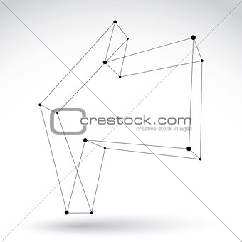 3d mesh monochrome backward arrow isolated on white background,