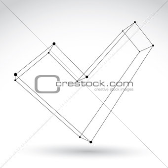 3d mesh monochrome validation sign isolated on white background,