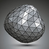 Deformed metallic object created from triangles, spatial geometr