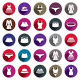 Woman clothes vector icon set.