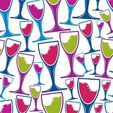 Winery theme seamless pattern, decorative stylish wine goblets.