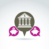 Vector banking symbol, financial institution icon. Speech bubble