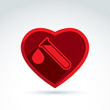 Donor blood heart and Circulatory system icon, vector conceptual