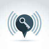 Key icon with inform sign, vector conceptual stylish symbol for your design. EPS8
