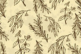 Handdrawn Illustration - Health and Nature Seamless Pattern.